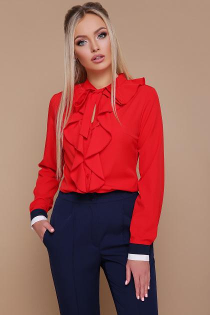 синяя блузка с воланами. блуза Бриана д/р. Цвет: красный