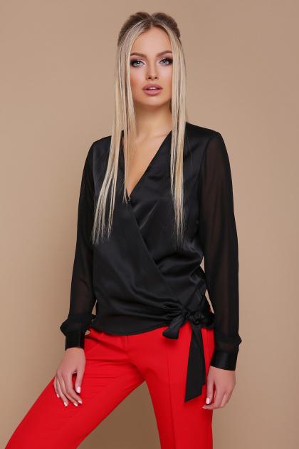 черная блузка с запахом. блуза Божена д/р. Цвет: черный