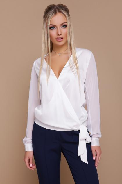 черная блузка с запахом. блуза Божена д/р. Цвет: белый