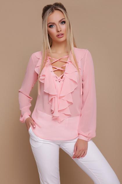 мятная шифоновая блузка. блуза Сиена д/р. Цвет: персик