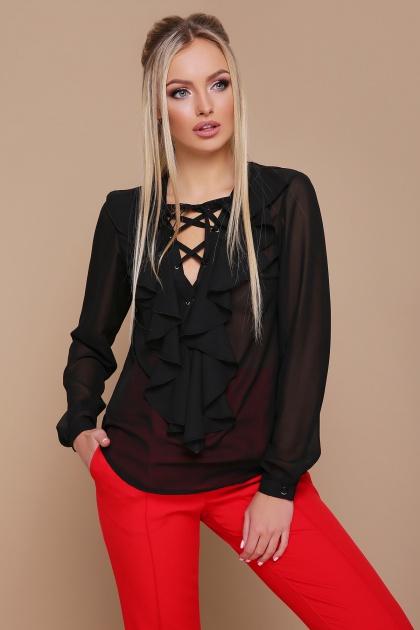 мятная шифоновая блузка. блуза Сиена д/р. Цвет: черный