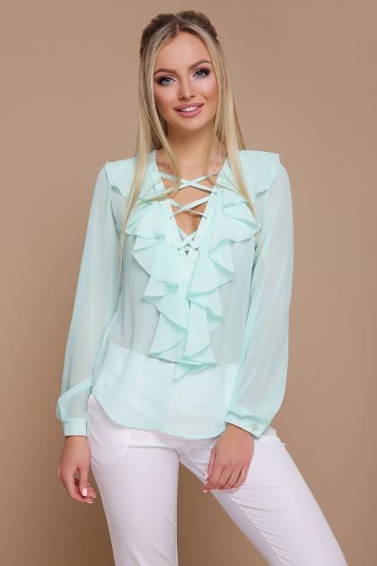 мятная шифоновая блузка. блуза Сиена д/р. Цвет: мята