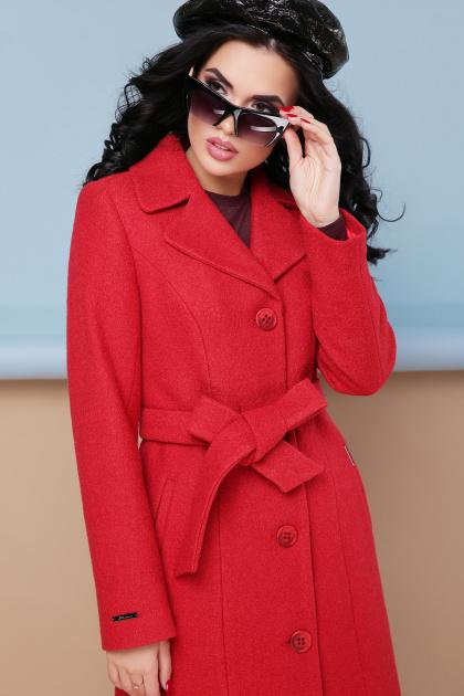 классическое пальто сливового цвета. пальто П-316-100. Цвет: 1008-коралл