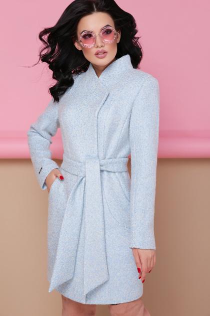 бирюзовое пальто с поясом. пальто П-308. Цвет: 1215-св.голубой