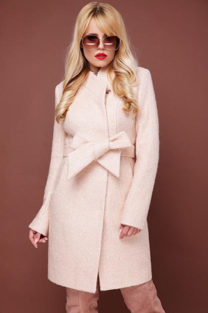 бирюзовое пальто с поясом. пальто П-308. Цвет: 1218-бежевый