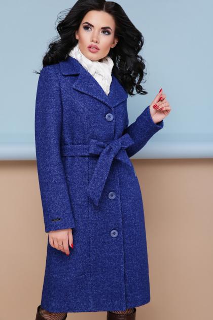 классическое пальто сливового цвета. пальто П-316-100. Цвет: 1303-синий