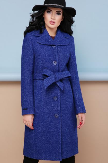 бордовое пальто с английским воротником. пальто П-319. Цвет: 1303-синий