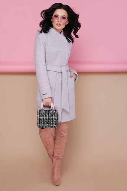 бирюзовое пальто с поясом. пальто П-308. Цвет: 1209-розовый