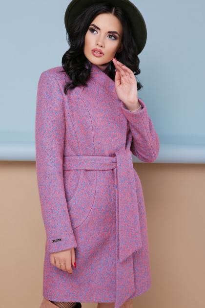 бирюзовое пальто с поясом. пальто П-308. Цвет: 1213-персик