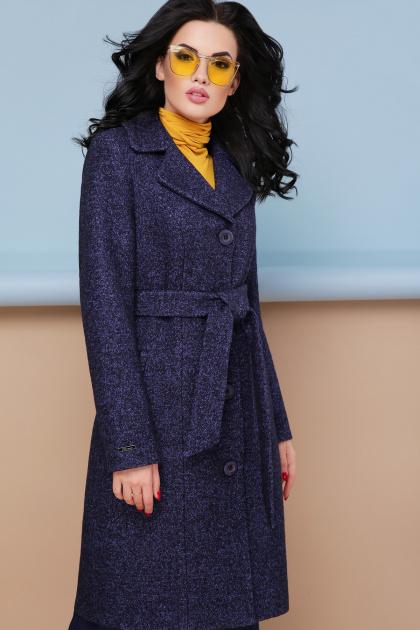 классическое пальто сливового цвета. пальто П-316-100. Цвет: 1306-т.синий
