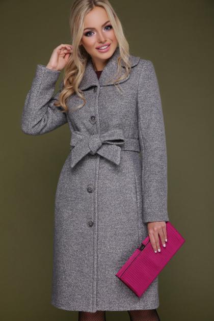 бордовое пальто с английским воротником. пальто П-319. Цвет: 1309-серый