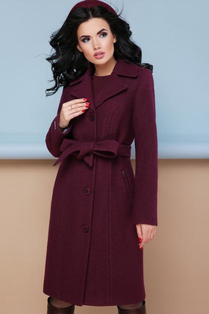 классическое пальто сливового цвета. пальто П-316-100. Цвет: 1006-слива