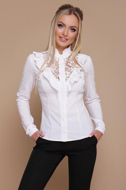 белая блузка с рюшами. блуза Амина д/р. Цвет: белый