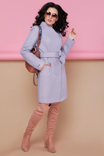бирюзовое пальто с поясом. пальто П-308. Цвет: 1228-голубой