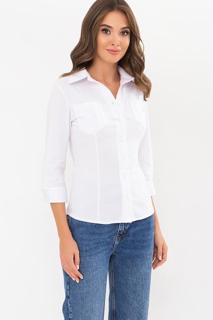 белая блузка с рукавом 3/4. блуза Марти 3/4. Цвет: белый