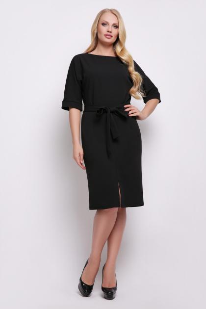 бежевое приталенное платье. платье Руся-Б к/р. Цвет: черный