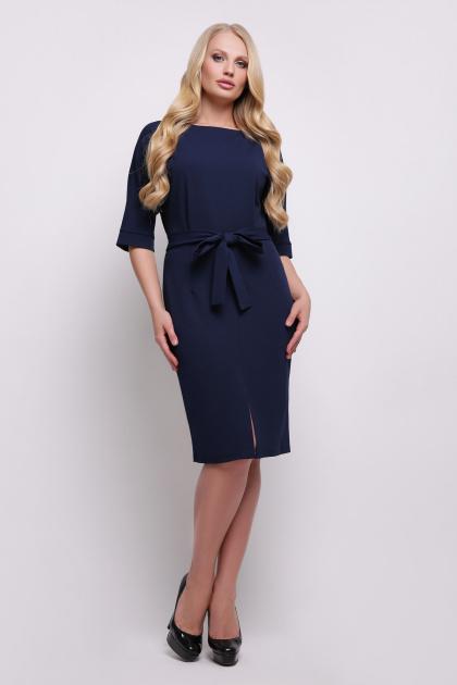 бежевое приталенное платье. платье Руся-Б к/р. Цвет: т.синий