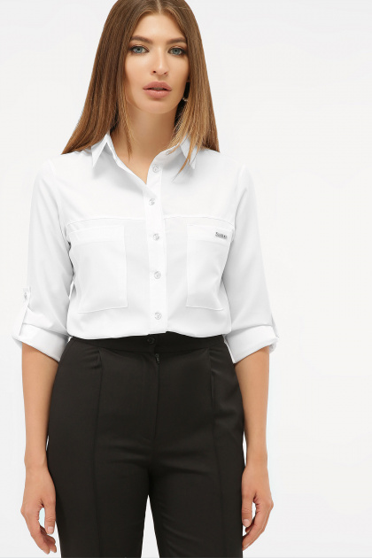 белая рубашка с длинным рукавом. блуза Кери д/р. Цвет: белый