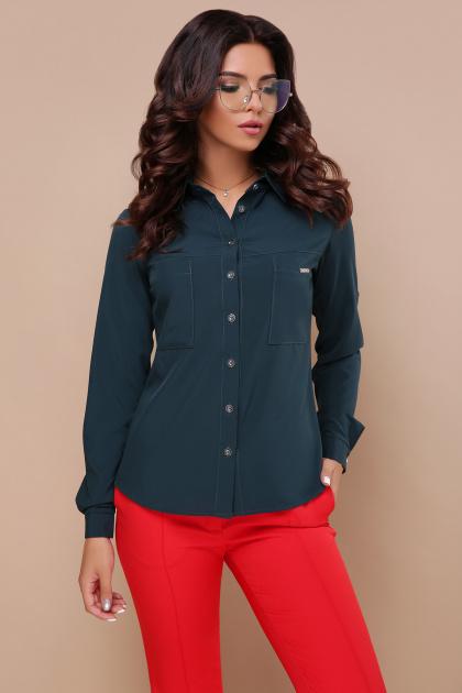 черная блузка с длинным рукавом. блуза Кери д/р. Цвет: изумруд