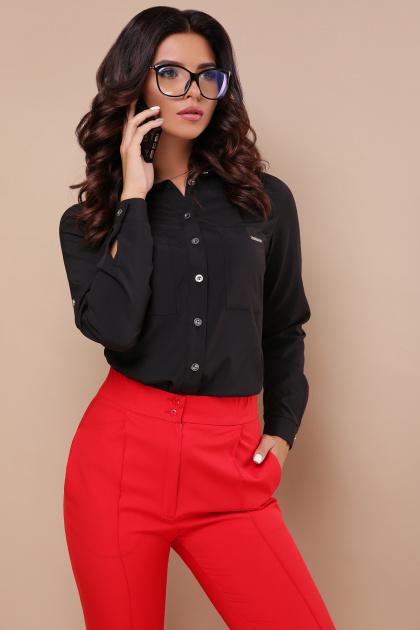 черная блузка с длинным рукавом. блуза Кери д/р. Цвет: черный