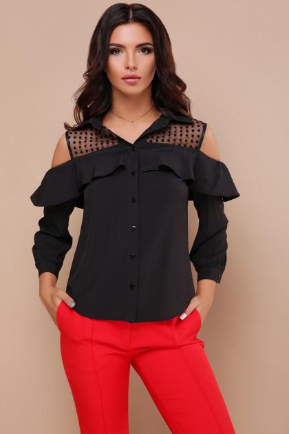 белая блузка с открытыми плечами. блуза Эрика д/р. Цвет: черный