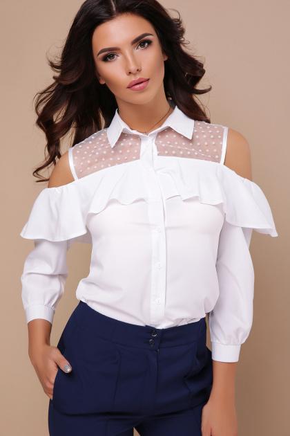 белая блузка с открытыми плечами. блуза Эрика д/р. Цвет: белый
