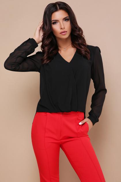 черная блузка с кружевом. блуза Айлин д/р. Цвет: черный