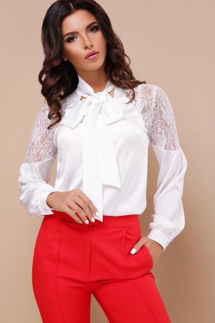 шелковая блузка с кружевом. блуза Анастейша д/р. Цвет: белый
