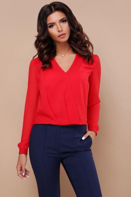 белая блузка с кружевом. блуза Айлин д/р. Цвет: красный