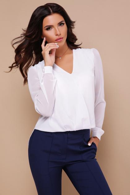 белая блузка с кружевом. блуза Айлин д/р. Цвет: белый