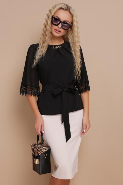 нарядная черная блузка. блуза Карла д/р. Цвет: черный