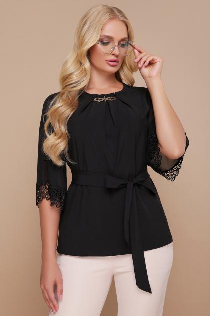 большая женская блузка белого цвета. блуза Карла-Б д/р. Цвет: черный