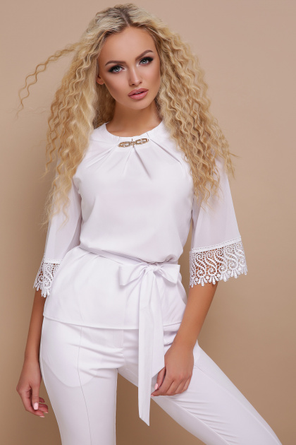 нарядная черная блузка. блуза Карла д/р. Цвет: белый