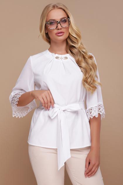 большая женская блузка белого цвета. блуза Карла-Б д/р. Цвет: белый