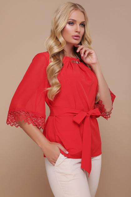 большая женская блузка белого цвета. блуза Карла-Б д/р. Цвет: красный