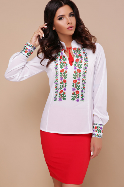 белая блузка с цветами. Вышиванка блуза Ярослава д/р. Цвет: принт