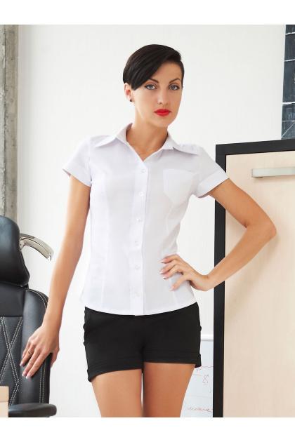 классическая женская белая рубашка с коротким рукавом. блуза Марта к/р. Цвет: белый