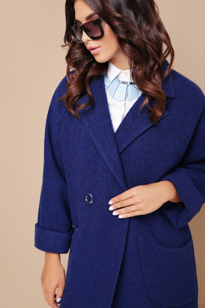 бордовое пальто с накладными карманами. пальто П-301-90. Цвет: 114-синий