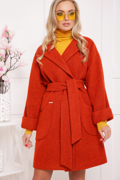 бордовое пальто с накладными карманами. пальто П-301-90. Цвет: 170