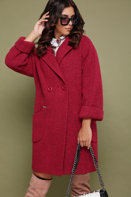 бордовое пальто с накладными карманами. пальто П-301-90. Цвет: 120-малина