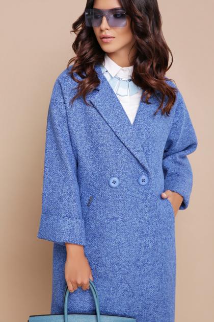 клетчатое пальто прямого кроя. пальто П-300-90. Цвет: 1803-голубой