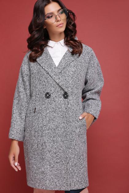 клетчатое пальто прямого кроя. пальто П-300-90. Цвет: 1801-серый