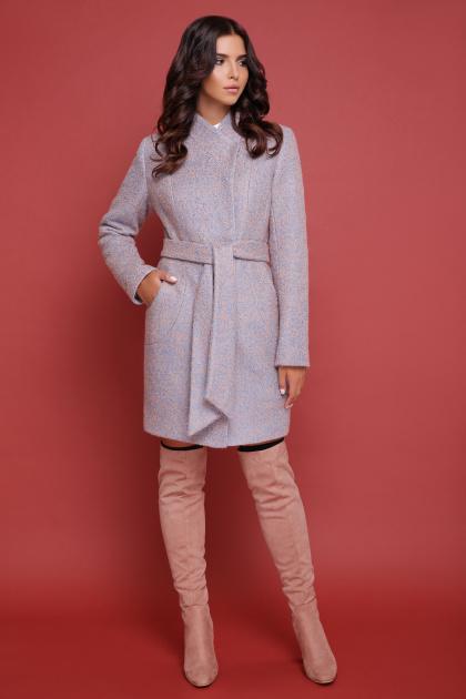 бирюзовое пальто с поясом. пальто П-308. Цвет: 1214