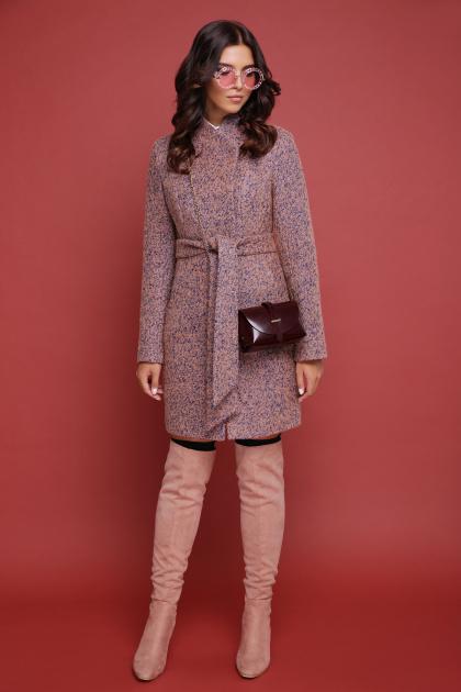 бирюзовое пальто с поясом. пальто П-308. Цвет: 1208-розовый