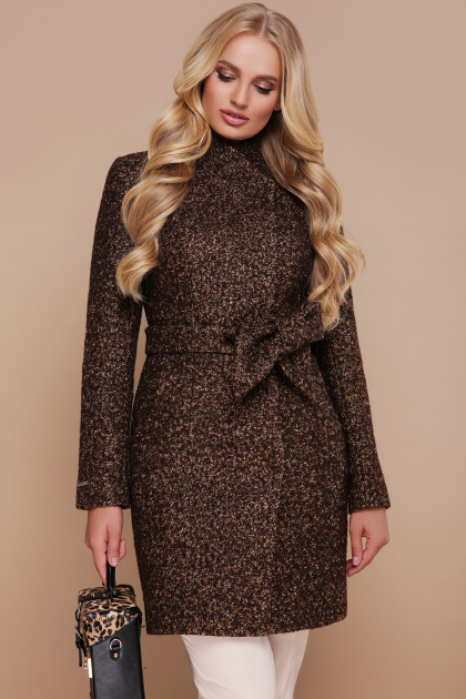 бирюзовое пальто с поясом. пальто П-308. Цвет: 1224-коричневый