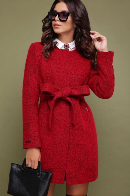 красное пальто без воротника. пальто П-337ш. Цвет: 1503-красный