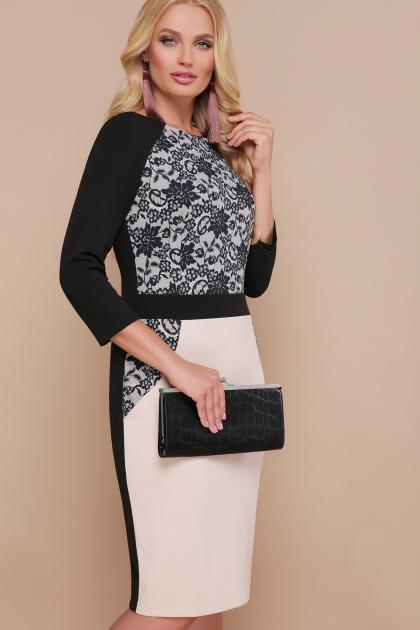 платье больших размеров с кружевом. Узор черный платье Ксена-Б д/р. Цвет: бежевый