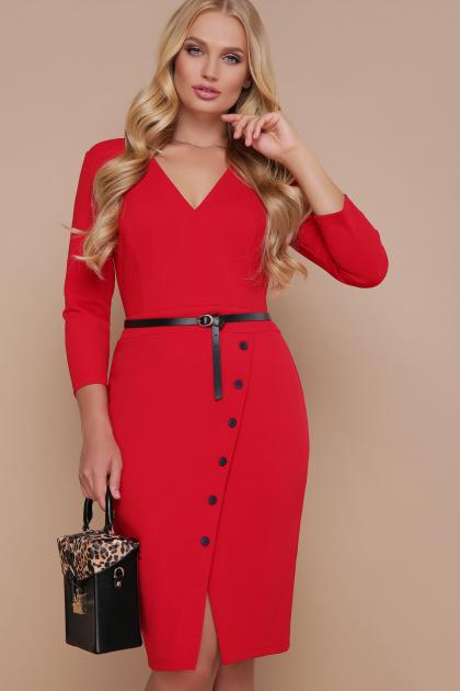 красное платье с пуговицами. платье Элария-Б д/р. Цвет: красный