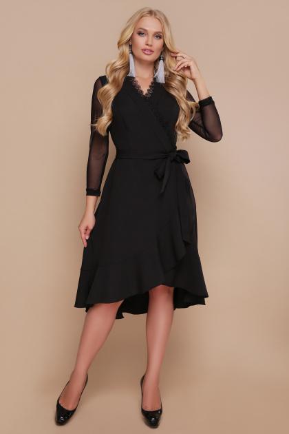 черное платье для полных с воланом. платье Алеся-Б д/р. Цвет: черный