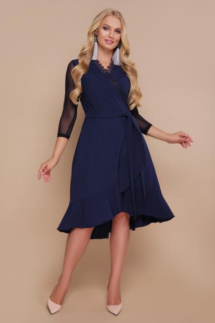 черное платье для полных с воланом. платье Алеся-Б д/р. Цвет: синий